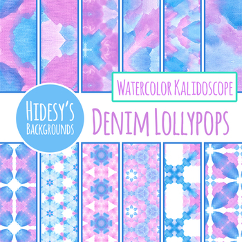 Pink and Blue Handpainted Watercolor Digital Papers / Backgrounds Clip Art Set