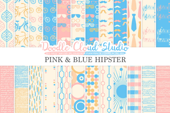 Pink and Blue Hipster digital paper, Vintage Retro patterns, Father's day