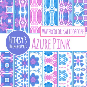 Pink and Blue Watercolor Painted Kalidoscope Backgrounds / Digital Papers