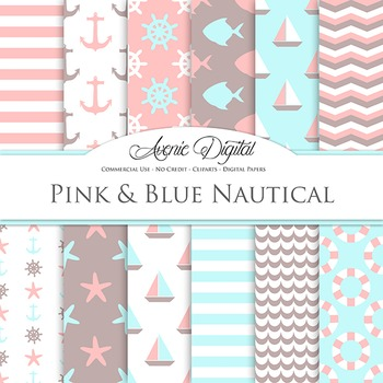 Pink and Blue Nautical Digital Paper patterns - sea scrapbook backgrounds