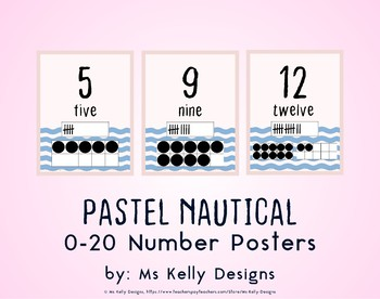 Pink and Blue Pastel Nautical 0-20 Number Posters