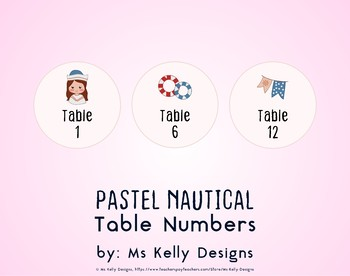 Pink and Blue Pastel Nautical 1-12 Table Numbers