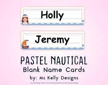 Pink and Blue Pastel Nautical Blank Name Cards