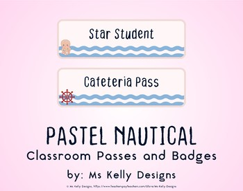 Pink and Blue Pastel Nautical Classroom Passes and Badges