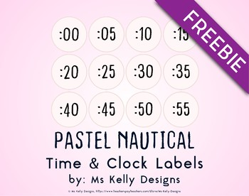 Pink and Blue Pastel Nautical Time and Clock Labels