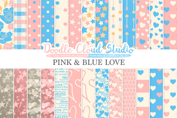 Pink and Blue Romantic digital paper, Valentine's day patterns,  Love, Roses