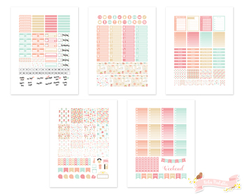Pink and Blue Sewing Printable Planner Weekly kit Stickers fits Erin Condren