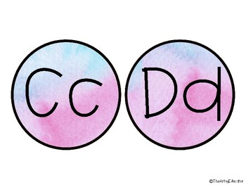 Pink and Blue Watercolor Word Wall Letters