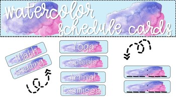 Pink and Blue Watercolor Schedule Cards