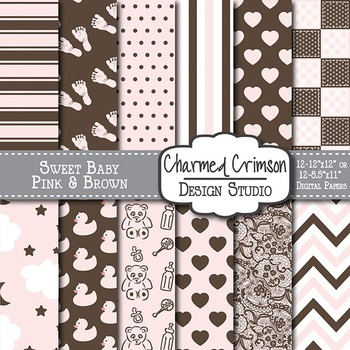 Pink and Brown Baby Digital Paper 1147