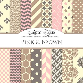 Pink and Brown Digital Paper - background
