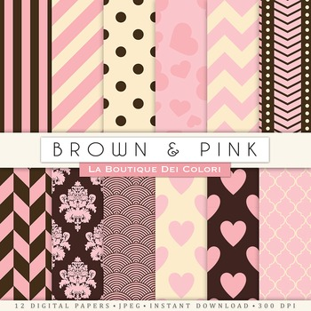 Pink and Brown Digital Paper, scrapbook backgrounds.