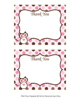 Pink and Brown Owl Flat Thank You Note Cards