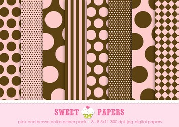 Pink and Brown Polka dots and Stripes Digital Paper Pack - by Sweet Papers