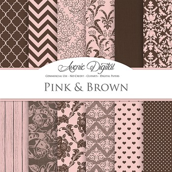Pink and Brown Wedding Digital Paper patterns - bridal save the date backgrounds