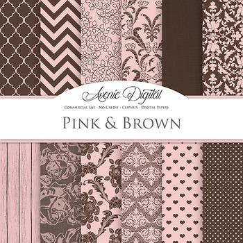 Pink and Brown Wedding Digital Paper patterns - bridal sav