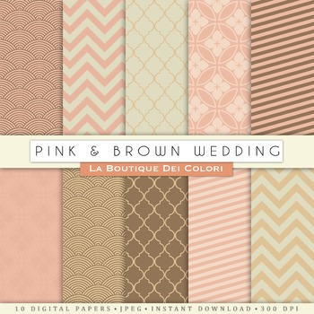 Pink and Brown Wedding Digital Paper, scrapbook backgrounds