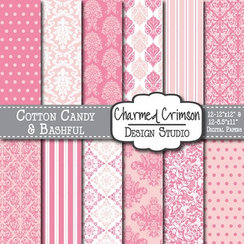 Pink and Bubble Gum Damask Digital Paper 1320