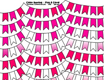 Pink and Coral Bunting Banner Clipart - 7 graphics for Com
