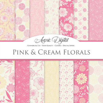 Pink and Cream Floral Digital Paper patterns Pastel dahlia flower background