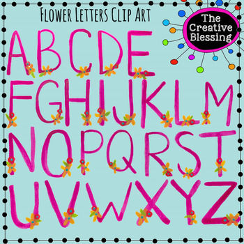 Pink and Floral Watercolor Alphabet Letters