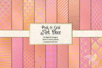 Pink and Gold Art Deco Digital Paper Patterns, Backgrounds