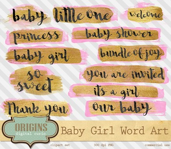 Pink and Gold Baby Girl Word Art overlays clipart, typography shower elements