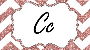 Pink and Gold Chevron Word Wall Labels
