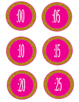 Pink and Gold Clock Numbers