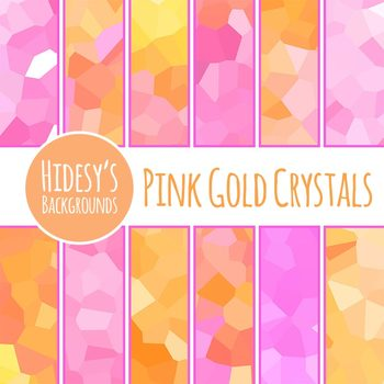 Pink and Gold Crystal Backgrounds / Digital Papers / Clip Art Set