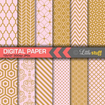 Pink and Gold Digital Paper, Pretty Geometric Patterns Paper Pack