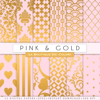 Pink and Gold Digital Paper, scrapbook backgrounds