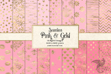 Pink and Gold Digital Paper, seamless gold foil patterns