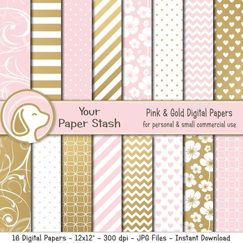 Pink and Gold Digital Scrapbook Papers and Backgrounds for Valentine's Day