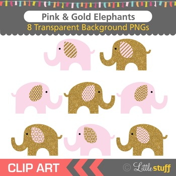 Pink and Gold Elephant Clipart, Gold and Pink Elephant Clip Art