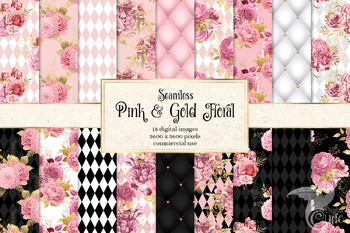 Pink and Gold Floral Digital Paper, blush watercolor backgrounds