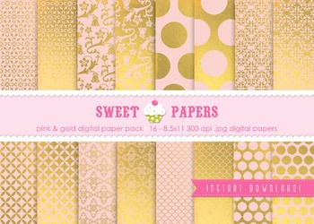 Pink and Gold Foil Digital Paper Pack - by Sweet Papers