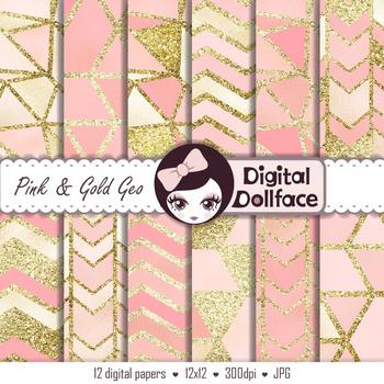 Pink and Gold Glitter Digital Paper / Geometric, Modern Patterns