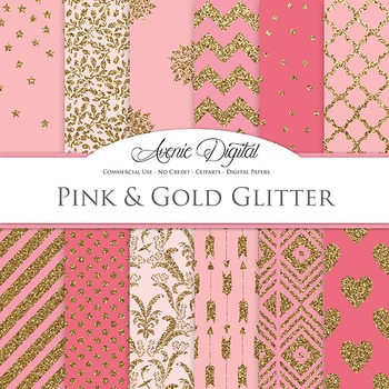 Pink and Gold Glitter Digital Paper - background