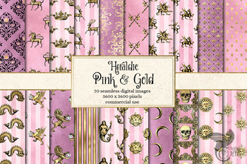 Pink and Gold Heraldic Digital Paper and seamless medieval fantasy backgrounds