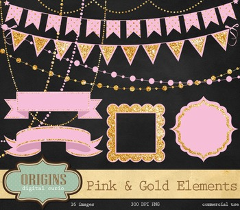 Pink and Gold Party Clipart