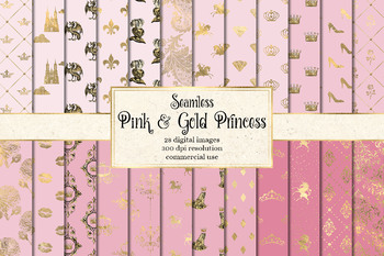 Pink and Gold Princess Digital Paper
