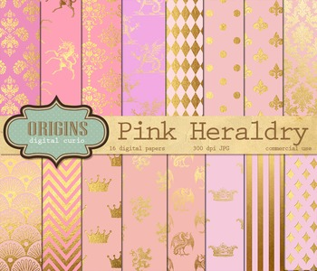Pink and Gold Royal Unicorn Heraldry Digital Paper Backgrounds