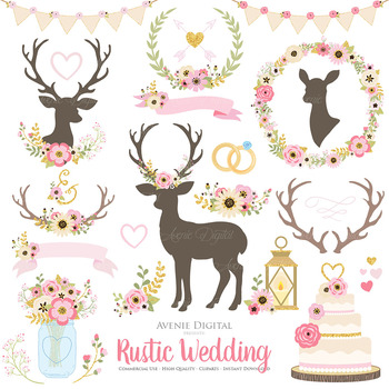Pink and Gold Rustic Wedding Clipart - Glitter Deer and Flower Wreaths Graphics