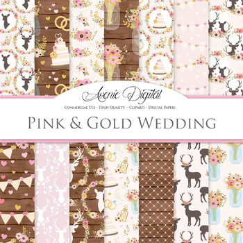 Pink and Gold Rustic Wedding Digital Paper - Glitter Wedding Seamless Patterns