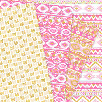 Pink and Gold aztec Digital Paper, Boho seamless patterns backgrounds