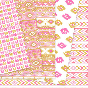 Pink And Gold Aztec Digital Paper Boho Seamless Patterns Backgrounds Gorgeous Pink Patterns