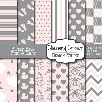 Pink and Gray Baby Digital Paper 1196