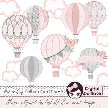 photo regarding Printable Hot Air Balloon known as Red and Grey Electronic Scorching Air Balloon Clip Artwork / Printable Clipart Graphics