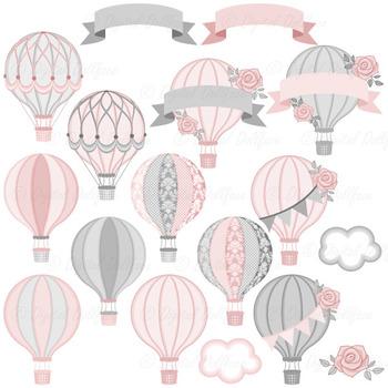 Pink and Gray Digital Hot Air Balloon Clip Art / Printable Clipart Graphics